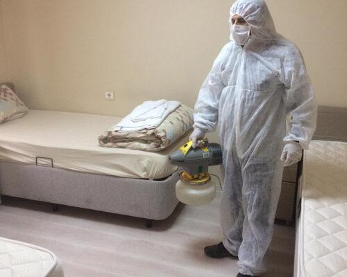 Belediye karantina yurdunu dezenfekte etti